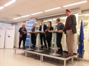 från vänster på bilden: Erika Bjerström, moderator, Jens Nilsson (S), Christofer Fjellner (M), jag, Carl Schlyter (MP), Pierre Schellekens, chef, EU-kommissionens kontor i Sverige