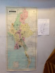 Vi gjorde en gemensam karta över var de organisationerna vi träffade hade projekt och/eller kontor i Burma